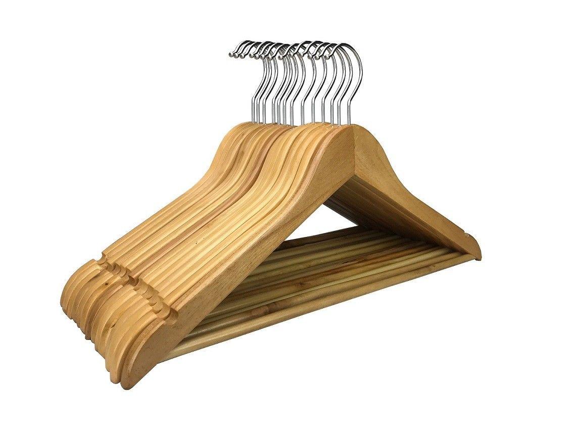 5-200x Holz Kleiderbügel Holzbügel Holzkleiderbügel Weiß Schwarz Braun Natur NEU